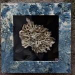 Uzu [turbine], 2018 carta giapponese, colore naturale e tintura con indaco, fogli scheletro, legno cm 70x70x9